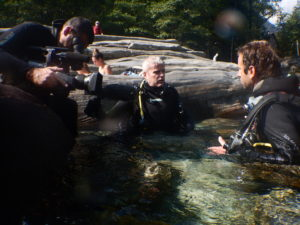 Tournage reportage avec tf1 sur la plongée en rivière - Sensations Vanoise